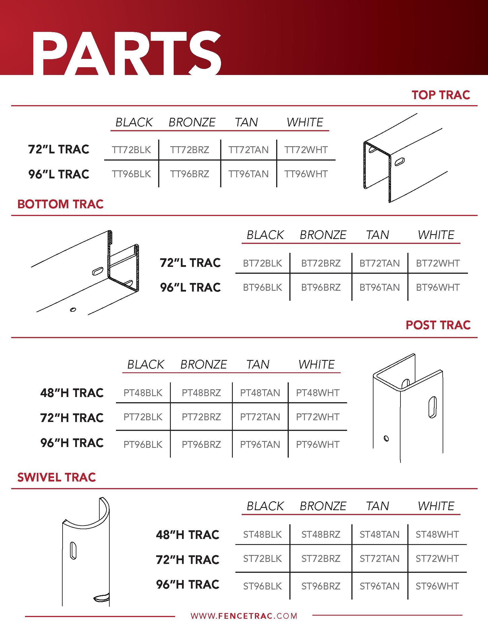 FenceTrac Parts Specs
