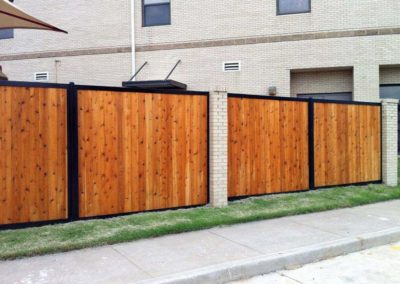 Wood Metal Brick Privacy Fence