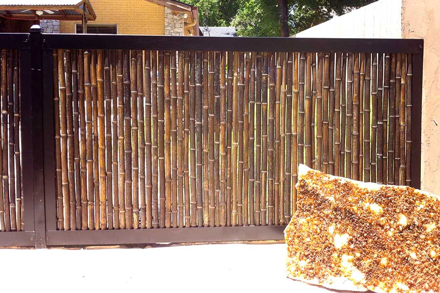 Stained Bamboo & Metal Fence