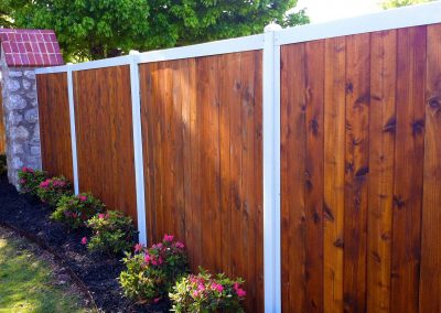 Vertical Stained Wood Metal Neighborhood Fence