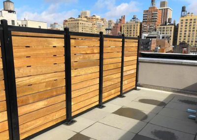 Horizontal Wood Slat Metal Fence Surface Mount