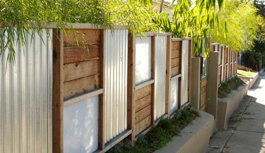 Unique Corrugated Metal & Wood Fence