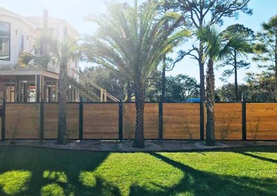 Horizontal Stained Wood Metal Privacy Fence Palm Trees
