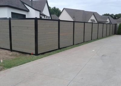 Horizontal Stained Wood Privacy Fence Metal Frame