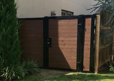 Horizontal Stained Wood Fence With Metal Frame