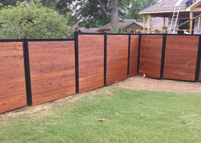 Horizontal Stained Wood Metal Backyard Privacy Fence