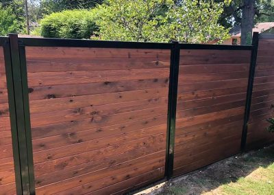 Horizontal Stained Wood Metal Privacy Fence