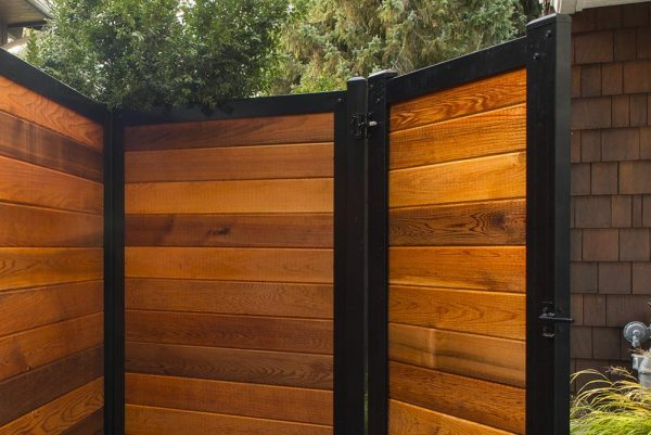 Wood & Metal Fence Gate From Inside