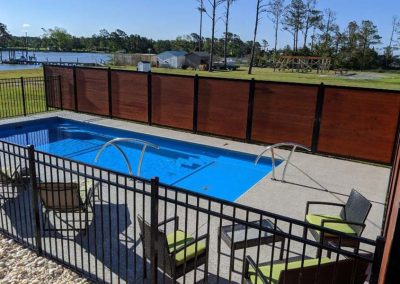 Horizontal Pool Privacy Fence With Iron Fence