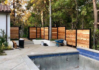 Backyard Pool Privacy Fence Wood & Metal
