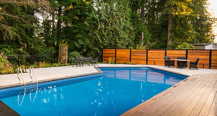 Pool Privacy Fence Near Trees