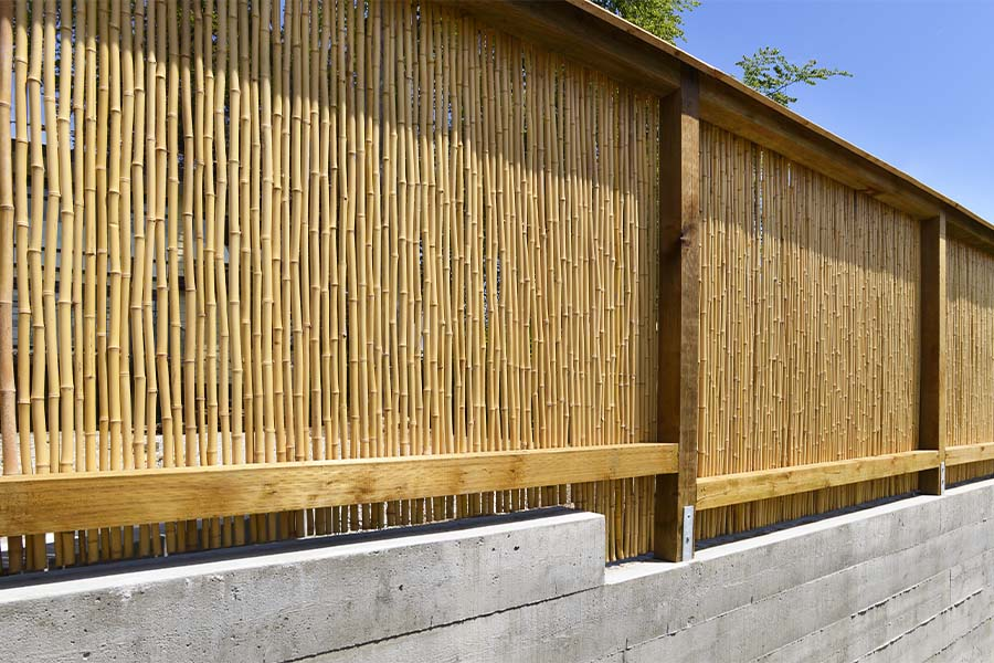 Bamboo Privacy Fence With Wood Frame